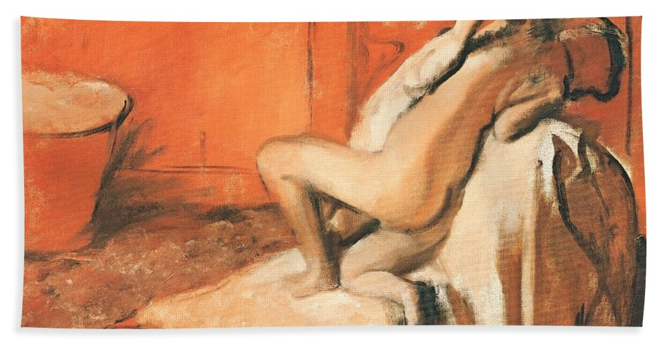 After The Bath Bath Sheet featuring the pastel After The Bath by Edgar Degas