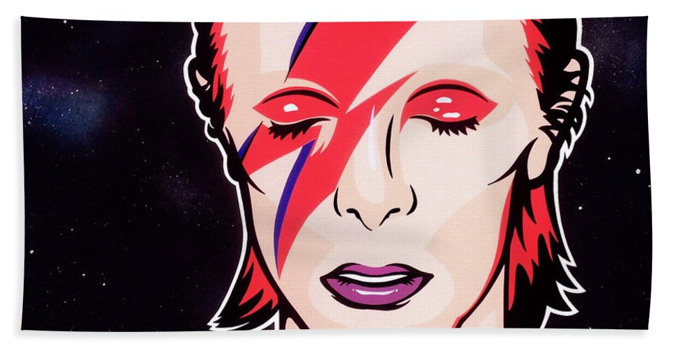 Bowie Bath Sheet featuring the painting Aladdin Sane by James Lee
