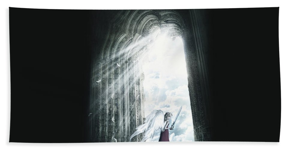 Angel Bath Sheet featuring the digital art Angel by Bert Mailer