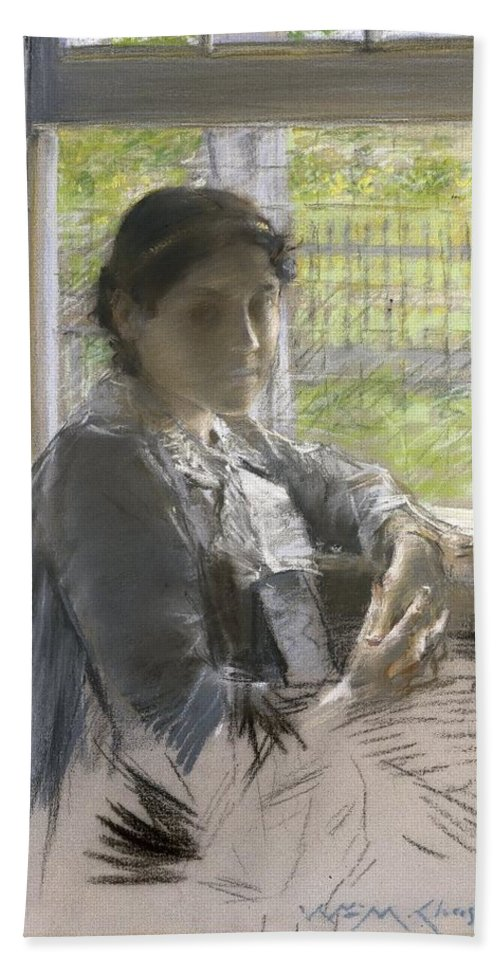 William Merritt Chase (american Bath Sheet featuring the painting At The Window by William Merritt