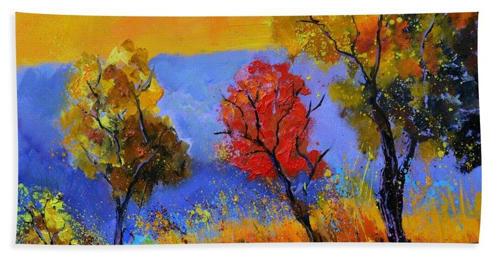 Landscape Bath Towel featuring the painting Autumn Colors by Pol Ledent
