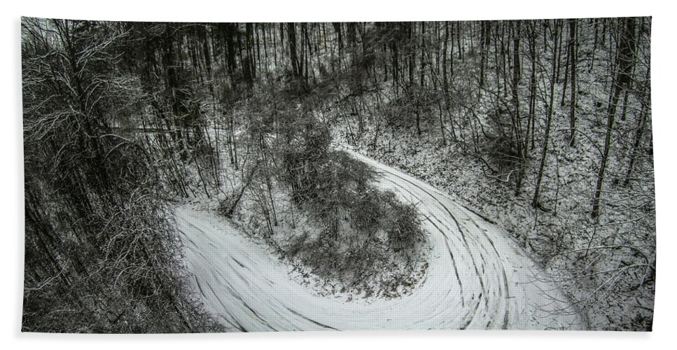 Bad Bath Sheet featuring the photograph Bad Road Conditions While Driving In Winter by Alex Grichenko