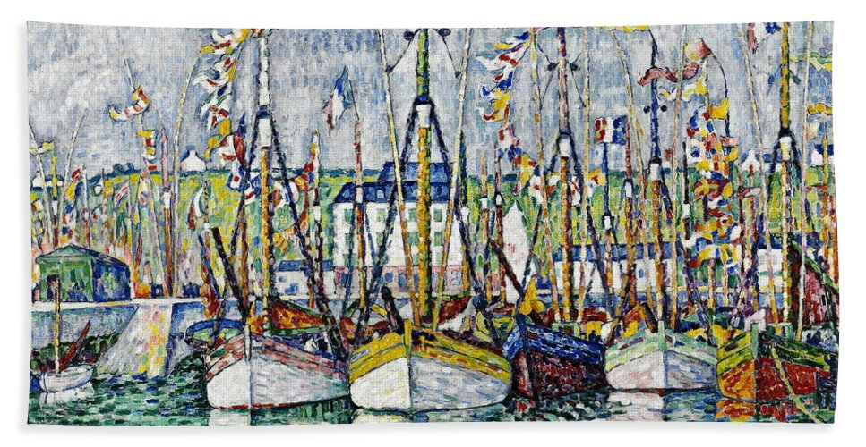 Sea Hand Towel featuring the painting Blessing Of The Tuna Fleet At Groix by Paul Signac