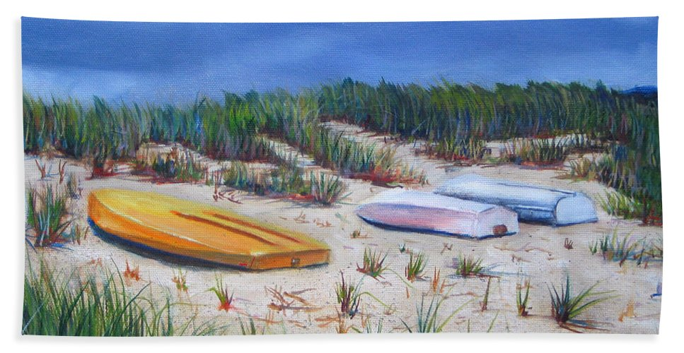 Cape Cod Hand Towel featuring the painting 3 Boats by Paul Walsh