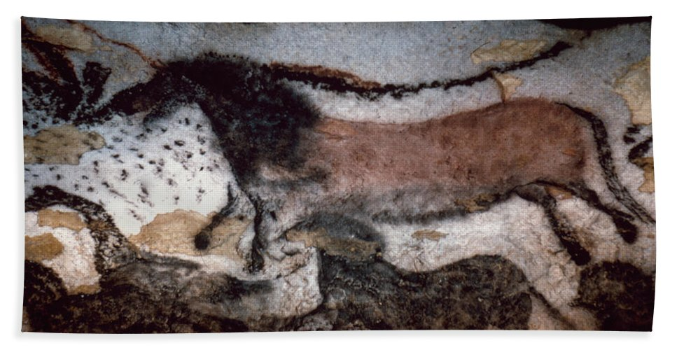 Cave Bath Sheet featuring the photograph Cave Art by Granger