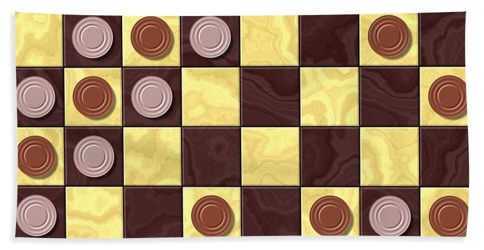 Checkerboard Hand Towel featuring the digital art Checkerboard Generated Seamless Texture by Miroslav Nemecek