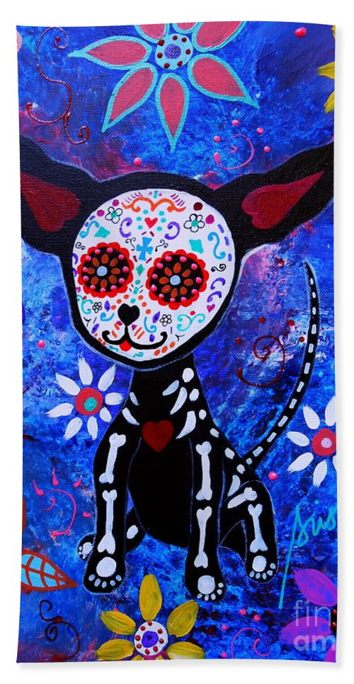 Dog Hand Towel featuring the painting Chihuahua Day Of The Dead by Pristine Cartera Turkus