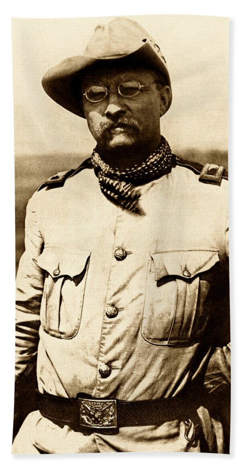 Theodore Roosevelt Hand Towel featuring the photograph Colonel Theodore Roosevelt by War Is Hell Store