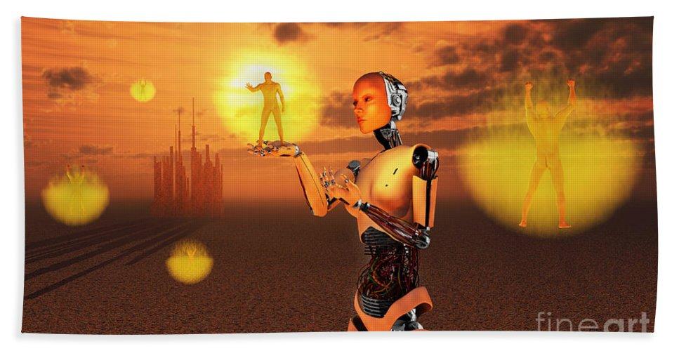 Horizontal Bath Sheet featuring the digital art Concept Illustrating Mankind Becoming by Mark Stevenson