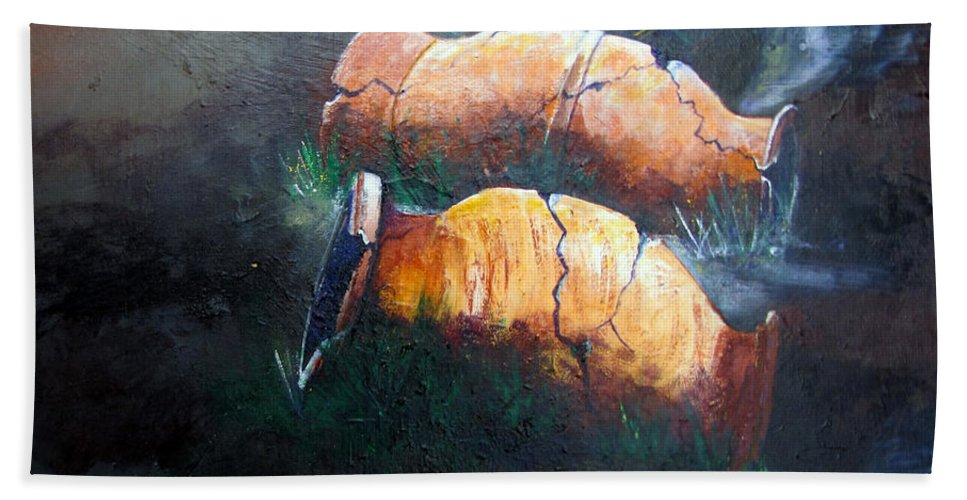 Urns Hand Towel featuring the painting 3 Cracked Urns by Gary Smith