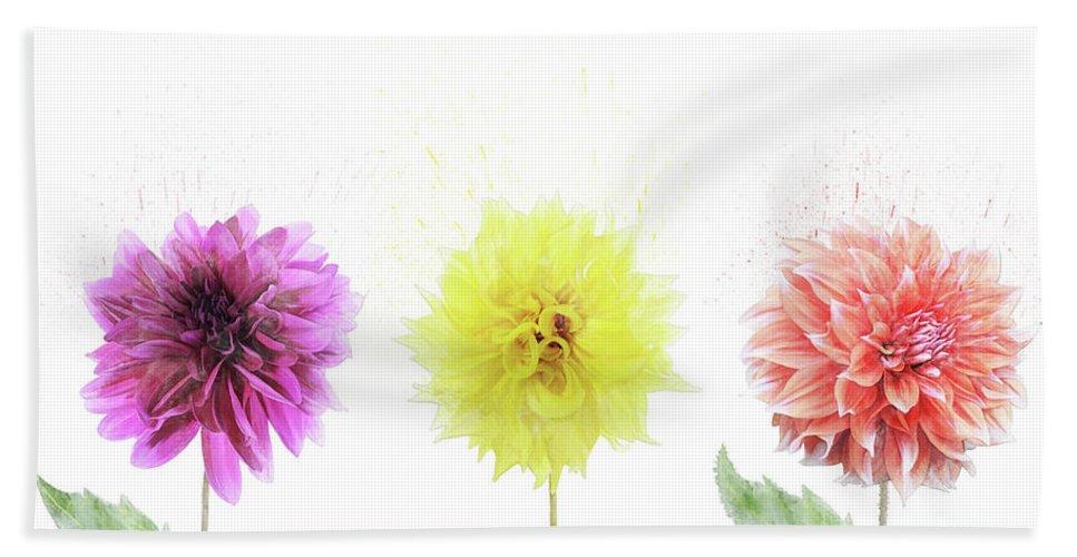 Dahlia Hand Towel featuring the digital art Dahlia Flowers by Svetlana Foote