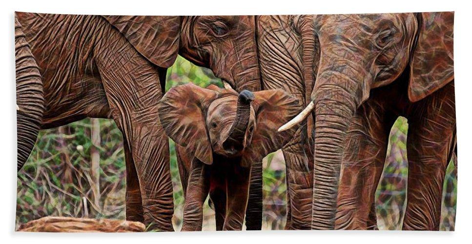 Elephant Bath Sheet featuring the mixed media Elephants by Marvin Blaine
