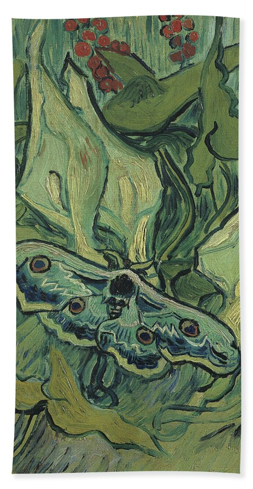 Vincent Van Gogh Bath Sheet featuring the painting Emperor Moth by Vincent van Gogh
