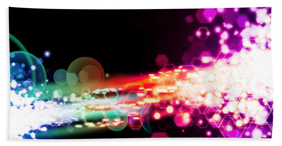 Abstract Bath Sheet featuring the photograph Explosion Of Lights by Setsiri Silapasuwanchai