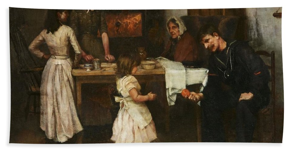 Family Scene In A Kitchen Bath Sheet featuring the painting Family Scene In A Kitchen by MotionAge Designs