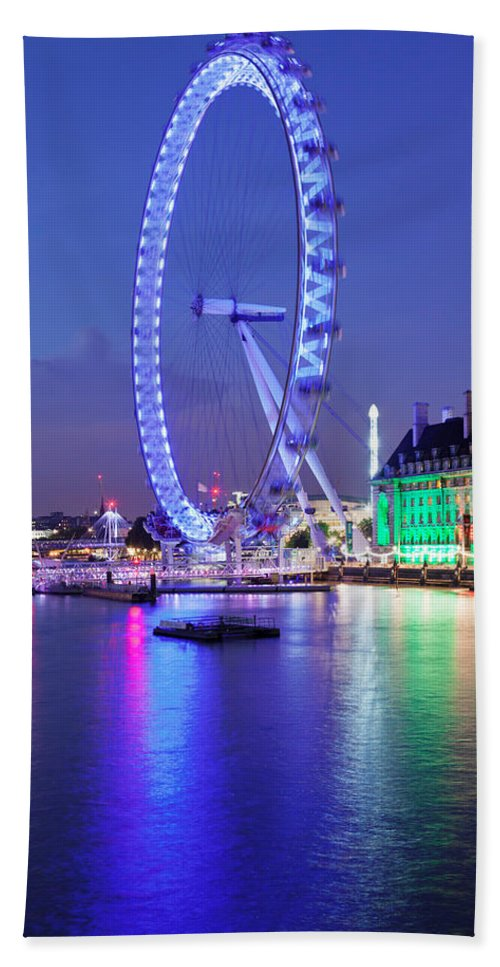 Photography Bath Sheet featuring the photograph Ferris Wheel At The Waterfront by Panoramic Images
