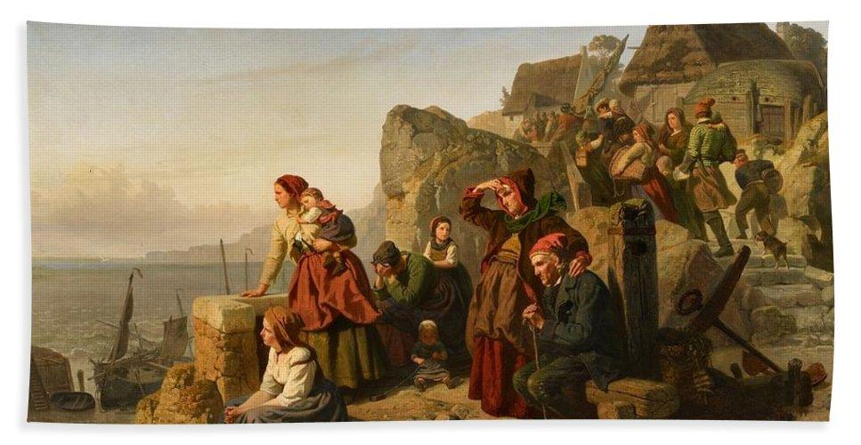 Rudolf Jordan Bath Sheet featuring the painting Fisher Families On The Coast by Rudolf Jordan