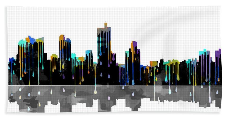 Fort Worth Texas Skyline Bath Sheet featuring the digital art Fort Worth Texas Skyline by Marlene Watson
