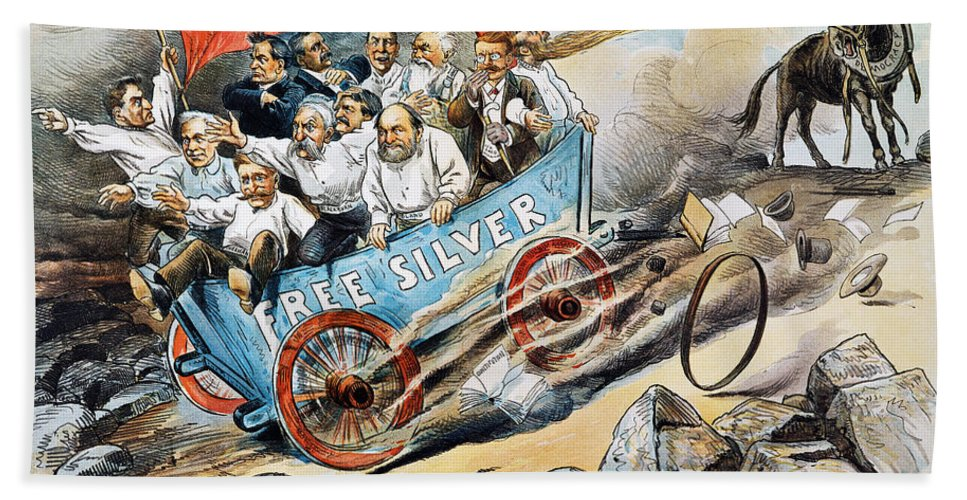 1896 Hand Towel featuring the photograph Free Silver Cartoon, 1896 by Granger