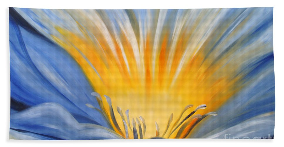 Flowers Bath Sheet featuring the painting From The Heart Of A Flower Blue by Gina De Gorna