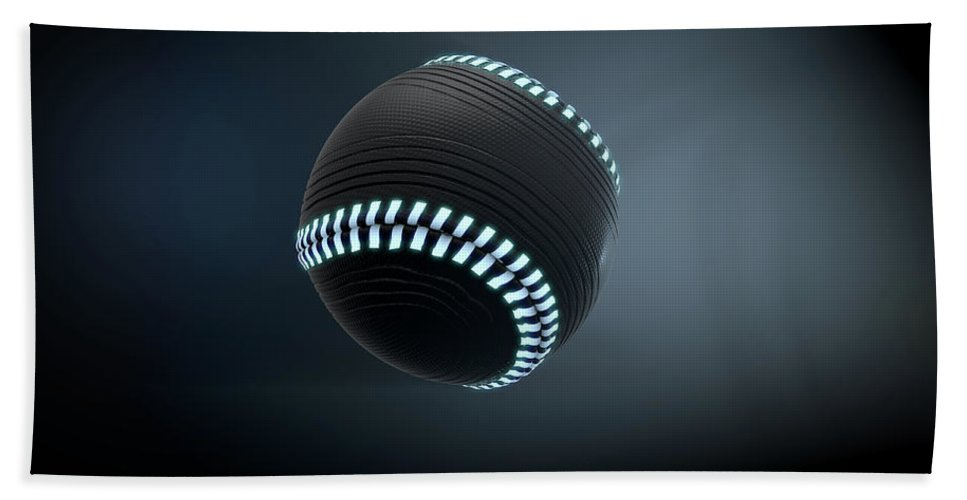 Baseball Bath Towel featuring the digital art Futuristic Neon Sports Ball 3 by Allan Swart