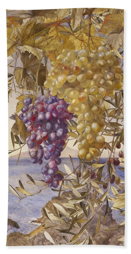 Henry Roderick Newman (american Bath Sheet featuring the painting Grapes And Olives by Henry Roderick
