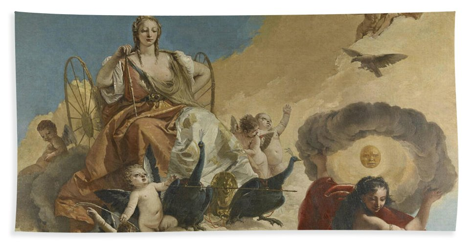 18th Century Art Hand Towel featuring the painting Juno And Luna by Giovanni Battista Tiepolo