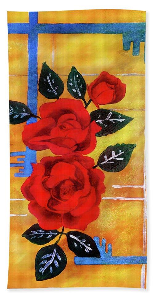 Jennifer Page Bath Sheet featuring the painting 3 Keys by Jennifer Page