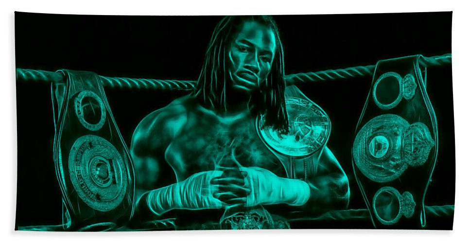 Lennox Lewis Hand Towel featuring the mixed media Lennox Lewis Collection by Marvin Blaine