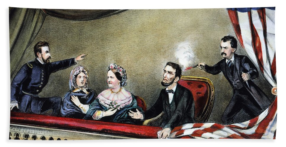 1865 Bath Sheet featuring the photograph Lincoln Assassination by Granger
