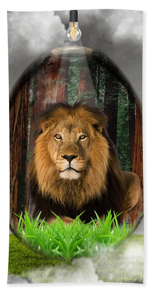 Lion Hand Towel featuring the mixed media Lion Art by Marvin Blaine