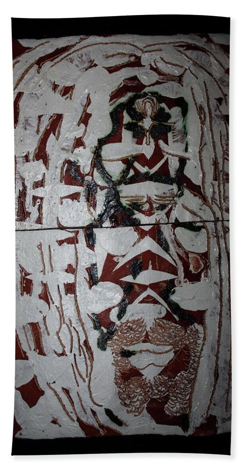 Jesus Elohimplaquesmamamama Africa Twojesus Bath Sheet featuring the ceramic art Lion Of Judah by Gloria Ssali