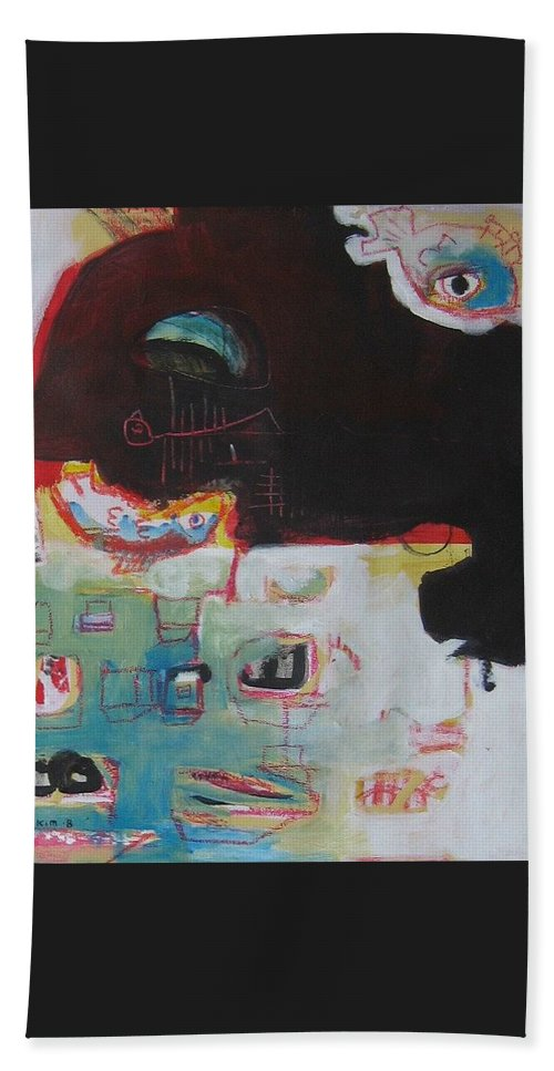 Abstract Paintings Hand Towel featuring the painting Little Bay by Seon-Jeong Kim