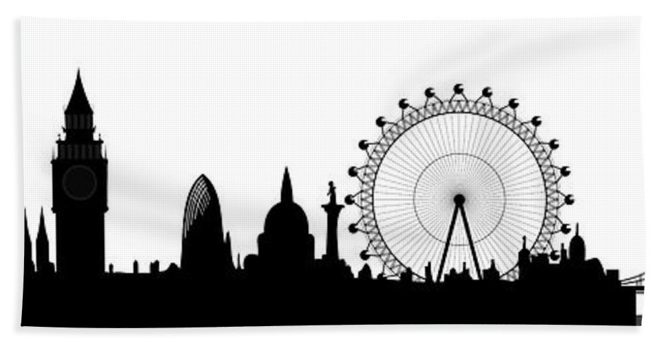 London Bath Towel featuring the digital art London Skyline by Michal Boubin