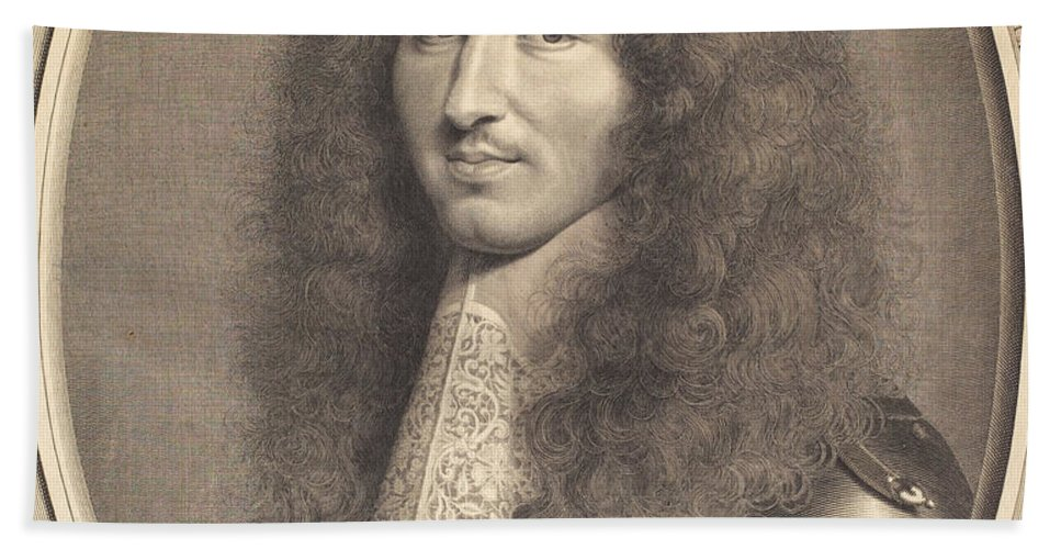 Hand Towel featuring the drawing Louis Xiv by Robert Nanteuil