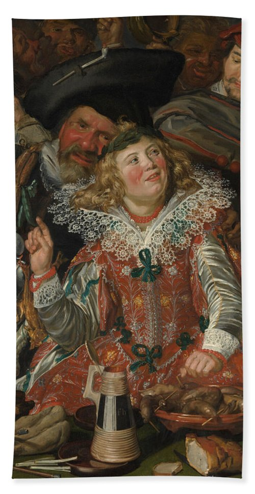 Baroque Hand Towel featuring the painting Merrymakers At Shrovetide by Frans Hals