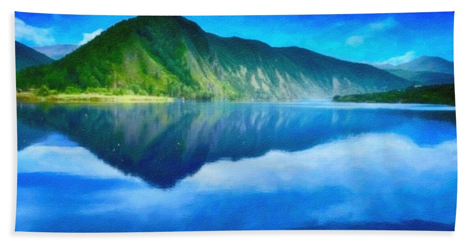 Nature Bath Sheet featuring the painting Mountain Landscape by Celestial Images
