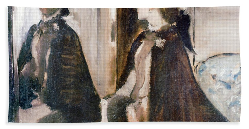 Women Hand Towel featuring the painting Mrs Jeantaud In The Mirror by Edgar Degas