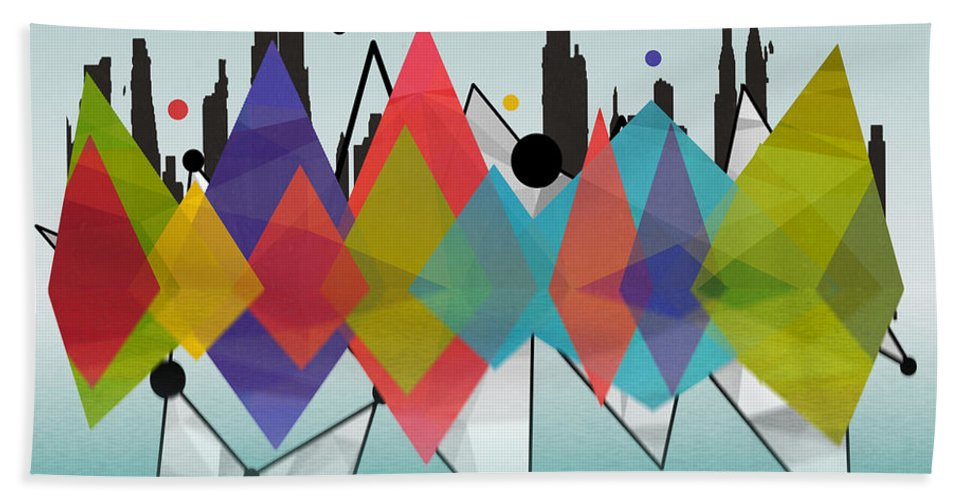 United States Hand Towel featuring the painting new York by Mark Ashkenazi