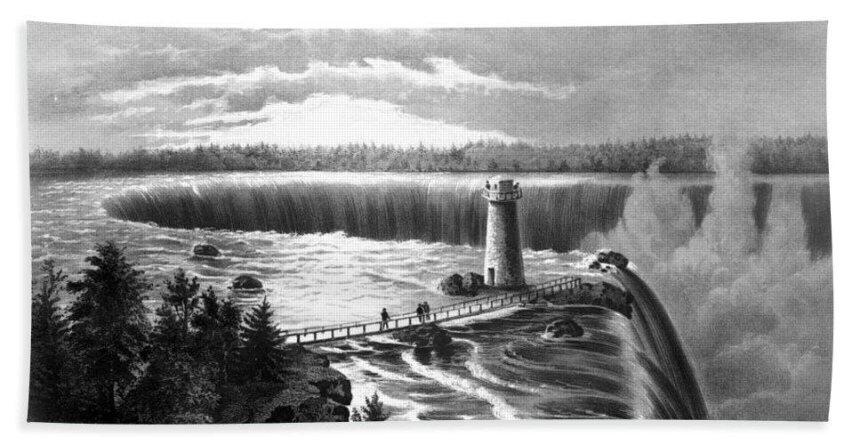 19th Century Bath Sheet featuring the photograph Niagara Falls by Granger