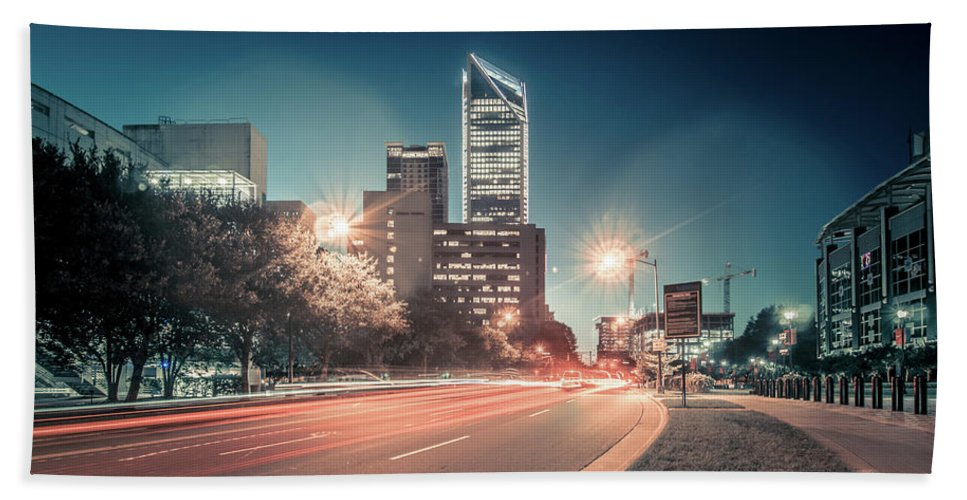 View Bath Sheet featuring the photograph November, 2017, Charlotte, Nc, Usa - Early Morning In The City O by Alex Grichenko