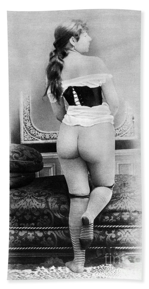 1885 Hand Towel featuring the photograph Nude Posing: Rear View by Granger