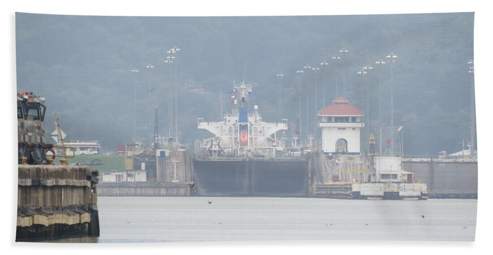Ricardo Sanchez Beitia Bath Sheet featuring the photograph Panama Canal by Ricardo Sanchez Beitia
