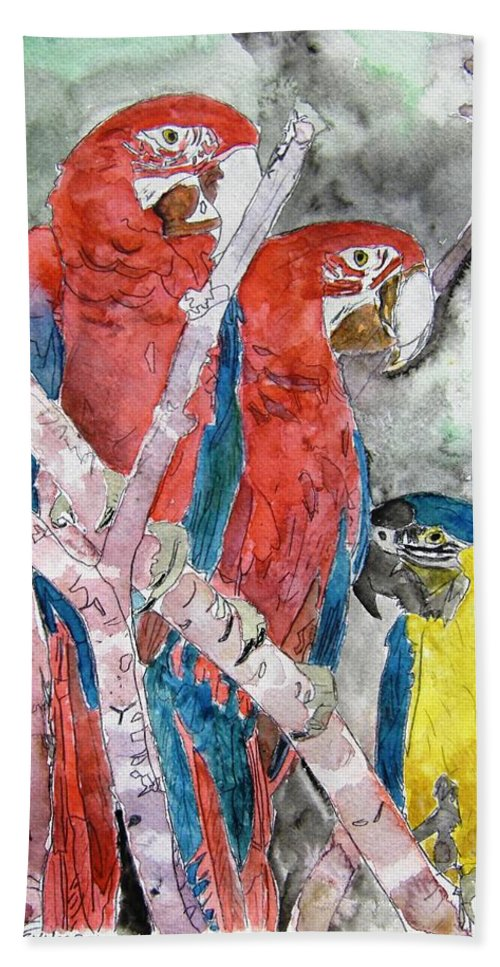 Bird Hand Towel featuring the painting 3 Parrots by Derek Mccrea