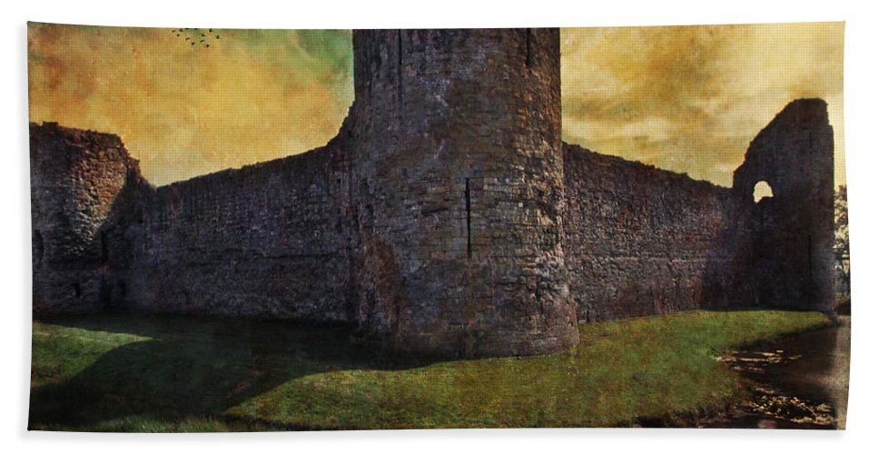 Castle Bath Sheet featuring the photograph Pevensey Castle Ruins by Chris Lord