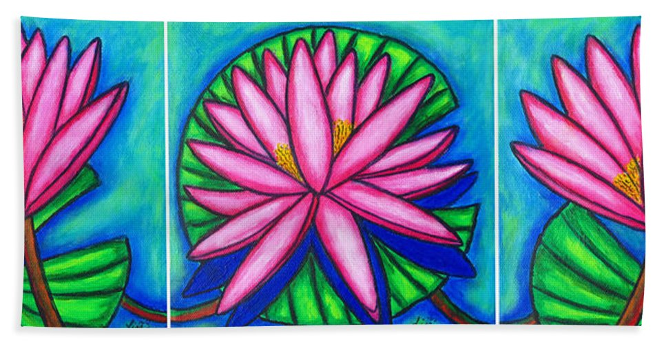 Water Lilies Bath Sheet featuring the painting 3 Pink Gems by Lisa Lorenz