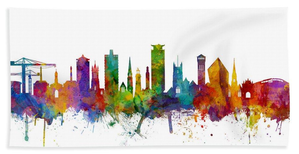 City Hand Towel featuring the digital art Plymouth England Skyline by Michael Tompsett