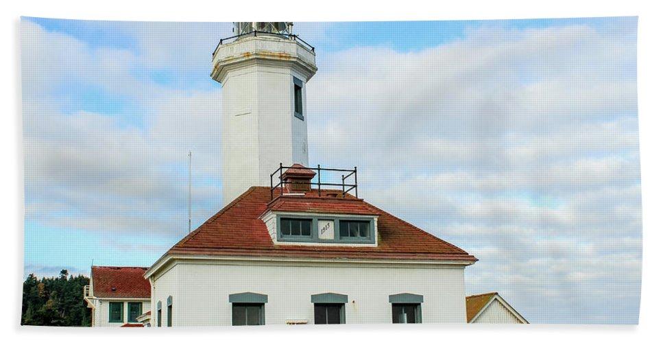 Lighthouse Hand Towel featuring the photograph Point Wilson Lighthouse by E Faithe Lester