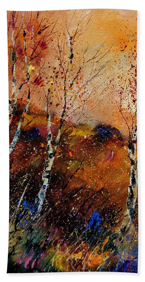 River Hand Towel featuring the painting 3 Poplars by Pol Ledent