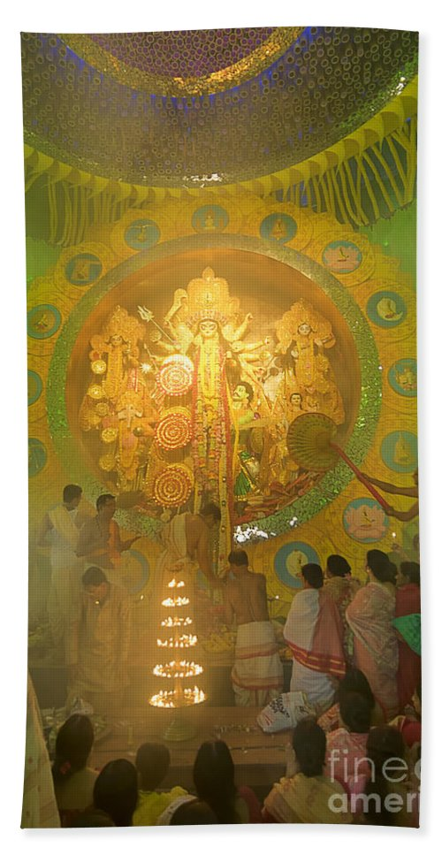 Durga Hand Towel featuring the photograph Priest Praying To Goddess Durga Durga Puja Festival Kolkata India by Rudra Narayan Mitra